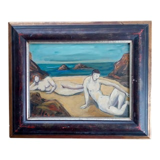 Mid 20th Century Cubist Portrait of Nude Male and Female Oil Painting, Framed For Sale