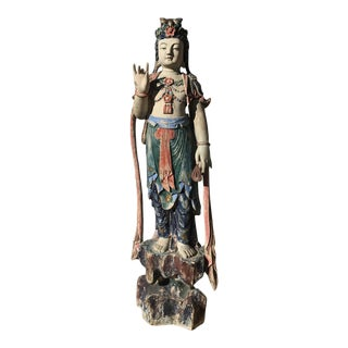 Mid 19th Century Antique Carved Wood and Polychrome Guanyin ~ Guan Yin Statue For Sale