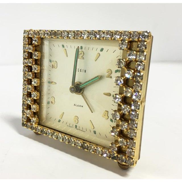 Elgin West Germany Rhinestone Alarm Clock - Image 4 of 7