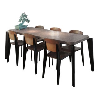 Jean Prouve Dining Table and Chairs – Granito Table and 6 Metropole Chairs For Sale