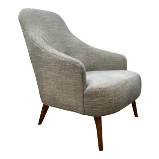 Drexel Heritage Modern Blue Curl Slipper Chair For Sale