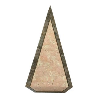 1980s Tessellated Stone Obelisk With Brass Inlay For Sale