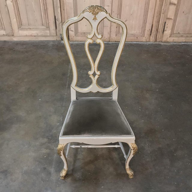 Eight 19th CenturyPainted and Gilded Italian Dining Chairs- Set of 8 For Sale - Image 12 of 13