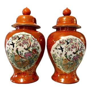 Vintage Chinese Birds of Paradise Porcelain Red Baluster Urn Vases - a Pair For Sale