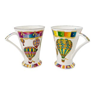Vintage Flight of Fancy Air Balloons English Mugs - Set of 2 For Sale