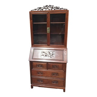 Carved Asian Chinese Rosewood Secretary Desk