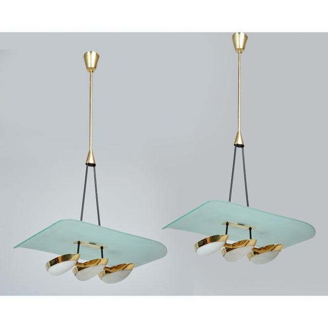 Angelo Lelii for Arredoluce Glass, Brass and Perspex Pendant Chandeliers, Italy 1950's - a Pair For Sale - Image 10 of 10