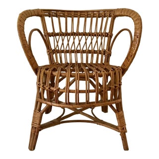 1990s Vintage Franco Albini Style Rattan Chair For Sale
