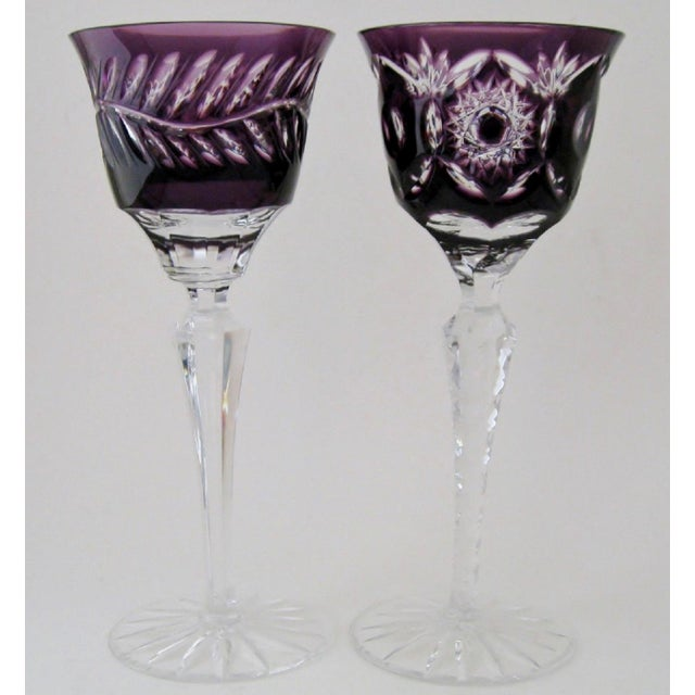 Bohemian Crystal Cordials, a Pair - Image 2 of 3