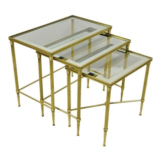 Brass Italian Hollywood Regency Side Nesting Tables Glass Top Tapered Legs Set 3 For Sale
