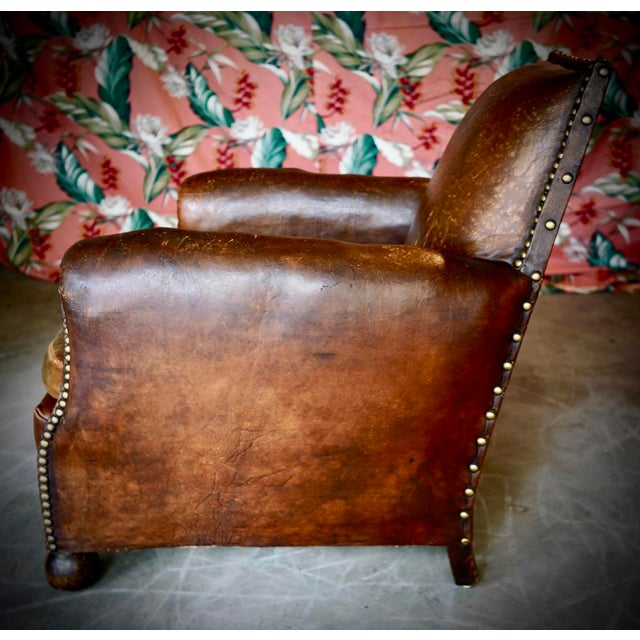 1930s French Leather and Cloth Seat Club Chair For Sale - Image 6 of 8
