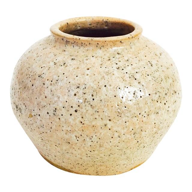 Vintage Pink Speckle Handmade Pottery Vase For Sale