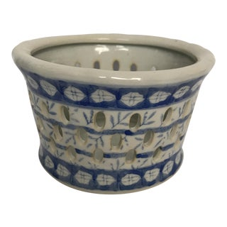 Blue & White Porcelain Orchid Pot For Sale