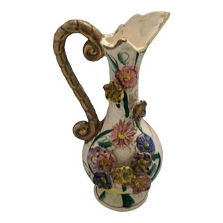 Vintage Japanese Hand Painted Raised Flower Motif Pitcher For Sale
