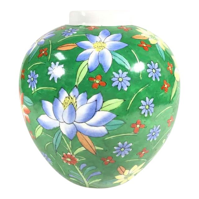 Hand Painted Floral Painted Vase For Sale