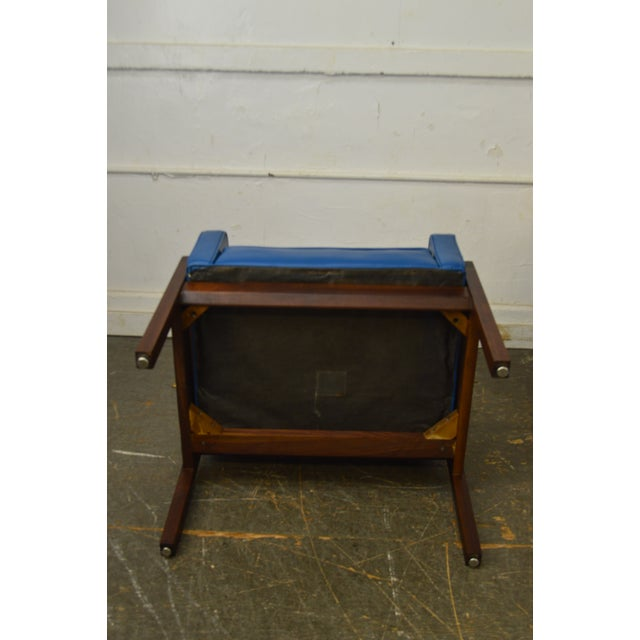 Mid-Century Modern Mid Century Modern Pair of Walnut Frame Orange & Blue Lounge Chairs For Sale - Image 3 of 13
