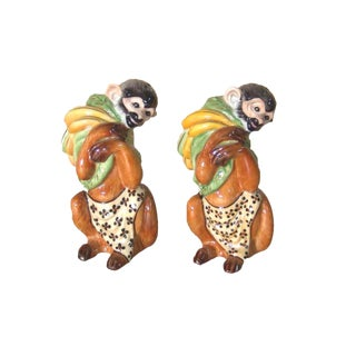Lynn Chase Monkey Business Pattern Hollohaza Monkey Salt & Pepper Shakers