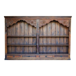 Antique Wooden Double Arched Bookcase For Sale
