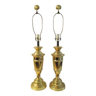 1980s Brass Plated Trophy Lamps - a Pair For Sale