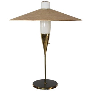 Rare Brass and Glass Table Lamp by Raymond Loewy for Stiffel, Model #9659