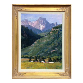 Framed Original Farm and Mountains Oil Painting by Tim Diebler For Sale
