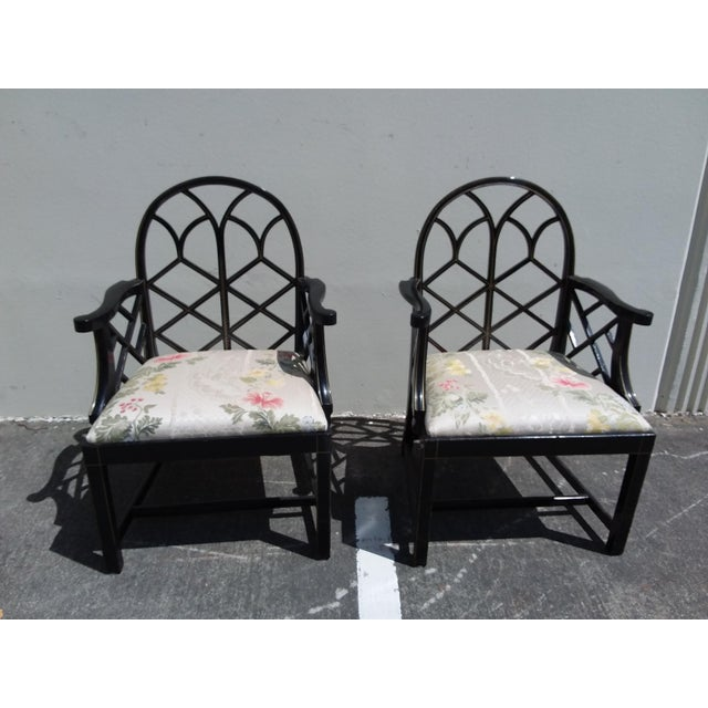 Lattice Work Back Black Arm Chairs - a Pair For Sale - Image 11 of 11
