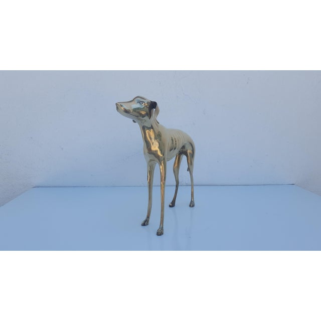 Hollywood Regency Brass Sculpture of Whippet or Greyhound Dog For Sale - Image 5 of 6