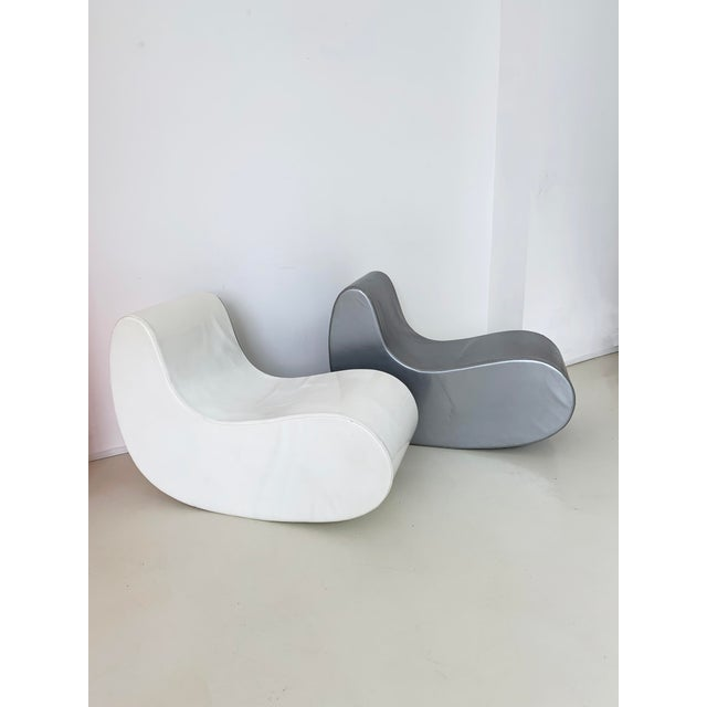 1960s Rocking Boomerang PVC chairs by Giuseppe Raimondi, Italy. Zippers on sides. Sold as a pair of two chairs. Super fun...