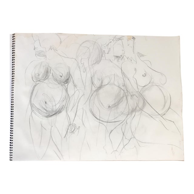 Pregnant Nude in Motion Drawing For Sale