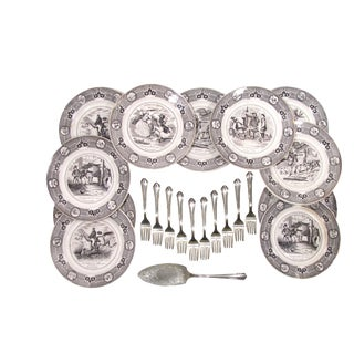 Antique French Transferware Dessert or Salad Service - S/22 For Sale