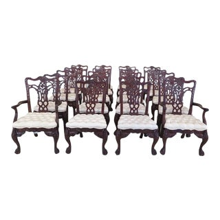 Maitland Smith Carved Mahogany Dining Room Chairs - Set of 20 For Sale