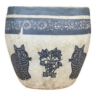 Floral and Cats Paper Mache Applique Basket For Sale