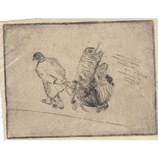 "Rare Milnes Levick ""Pulling Cart"" Miniature Etching"