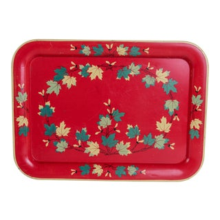 Madcap Cottage Mid-Century Red-Painted Metal Serving Tray For Sale