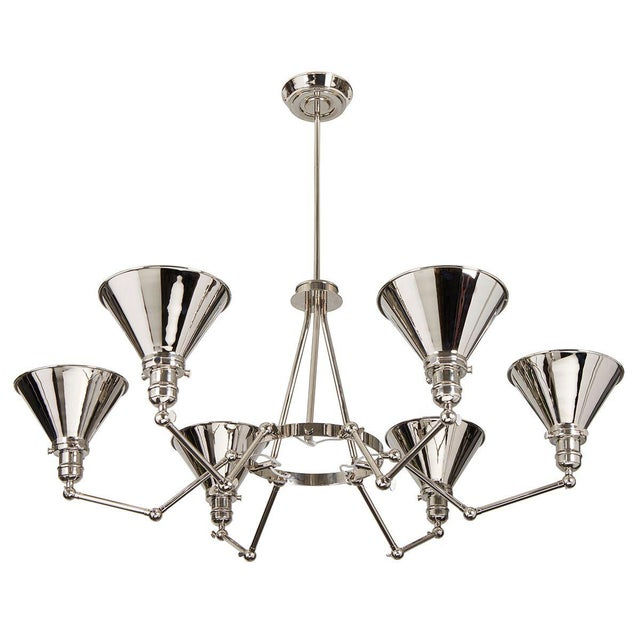 Provence 6-Arm Chandelier in Polished Nickel For Sale - Image 4 of 6