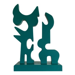 Post Modern Teal Wood Sculpture