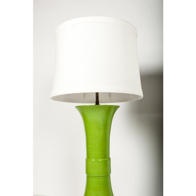 Pair of Green Porcelain Task Lamps For Sale In New York - Image 6 of 10