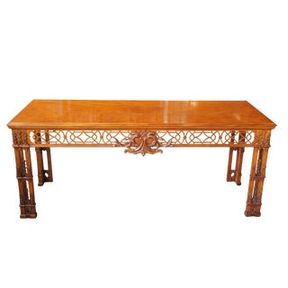 Baker Stately Homes Irish Chinese Chippendale Mahogany Carved Console Hall Table For Sale