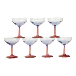 Vintage Iridescent Champagne Coupe Glasses - Set of 7