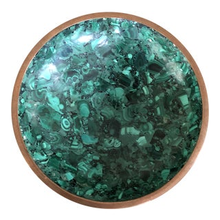 Mid Century Malachite & Brass Bowl For Sale