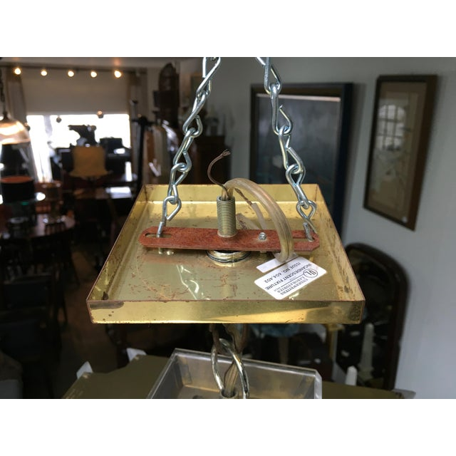 Fredrick Ramond Post Modern Square Brass & Glass Chandelier For Sale - Image 10 of 11