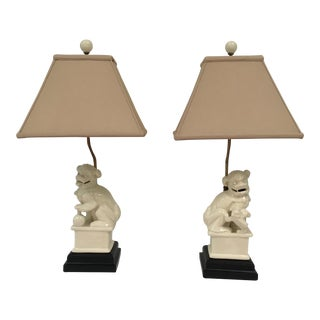 Ivory Foo Dog Lamps With Shades – a Pair For Sale