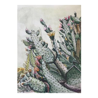 "Sophie Hoad Halma Original ""Prickly Pear Paradise"" Watercolor Illustration For Sale"