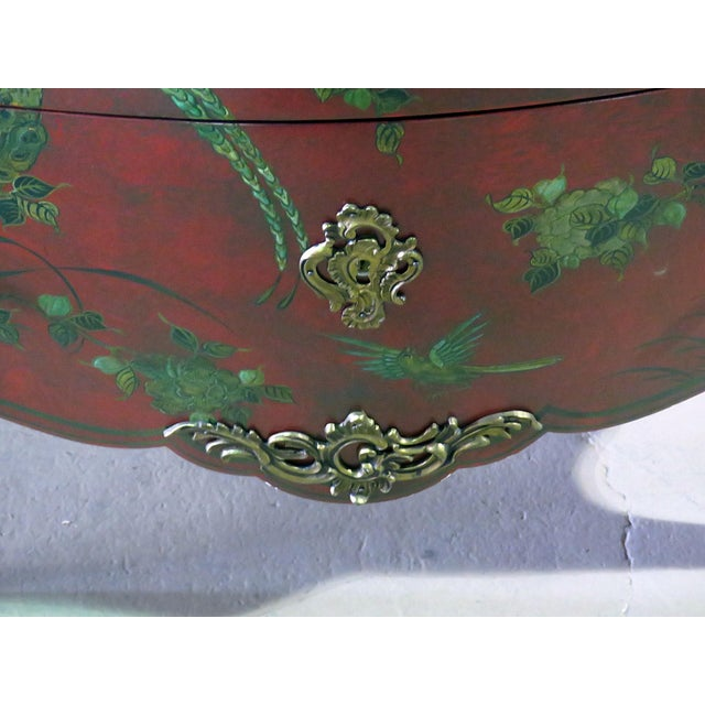 Marble Top Green Paint Decorated Bombe Red Commode For Sale - Image 4 of 11