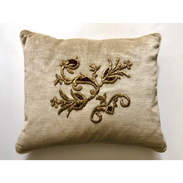 Velvet Pillow With 19th Century Metallic Gold Wire Floral Embroidery For Sale - Image 13 of 13
