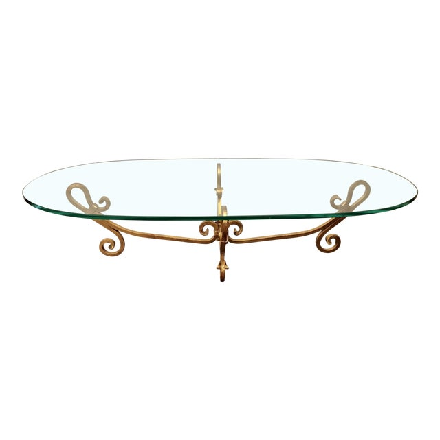 Large Hollywood Regency Gilt Metallic Gold Wrought Iron Table For Sale