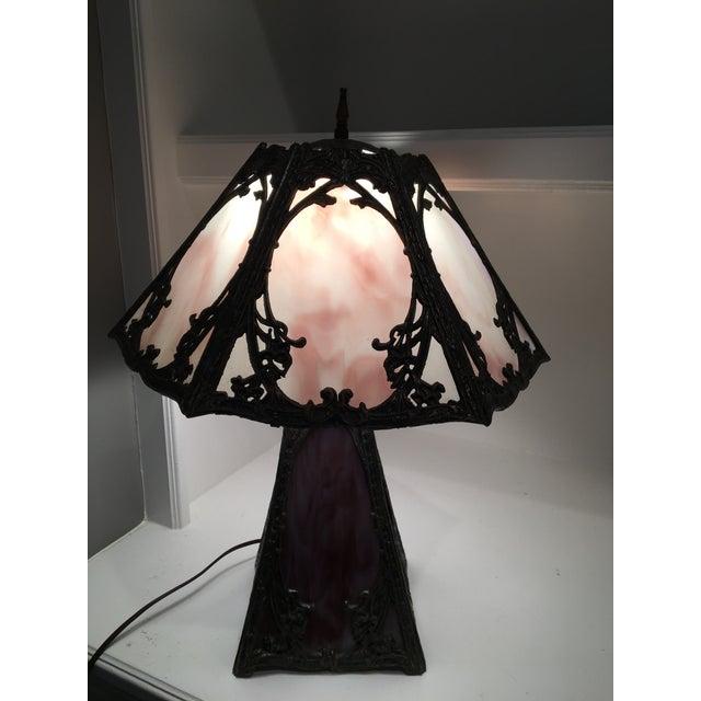 Art Nouveau Deco Slag Glass Lamp - Image 5 of 10