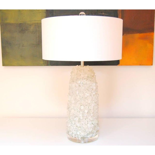 Contemporary Glass Rock Table Lamps by Swank Lighting White Ice For Sale - Image 3 of 10