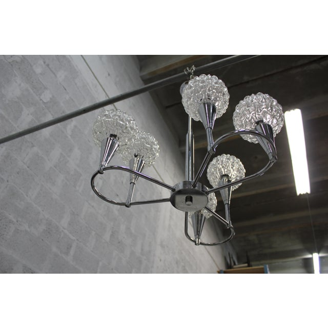Circa 1960s French Mid Century Six Light Chrome Chandelier - Image 6 of 11