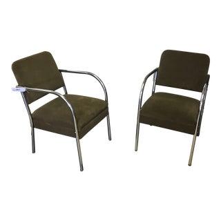 1930's Art Deco Chrome Tubular Chairs - a Pair For Sale